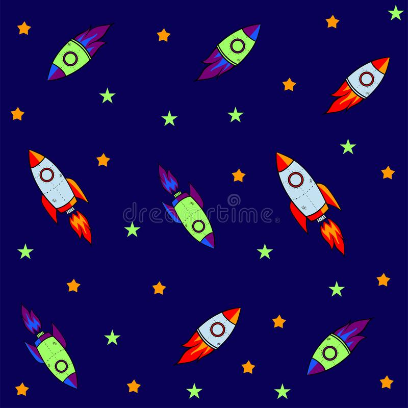 Seamless pattern for journey to space with sketch stars, rocket, comets, planets and ufo, vector. Illustration royalty free illustration