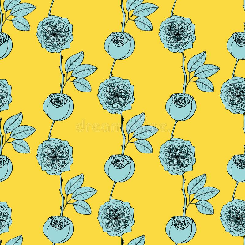 Seamless pattern with juliet garden rose flowers, nature floral background royalty free illustration