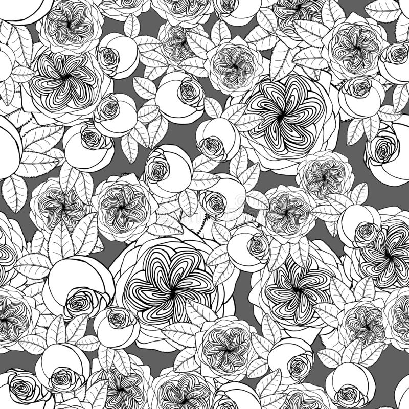 Seamless pattern with juliet garden rose flowers, nature floral background stock illustration