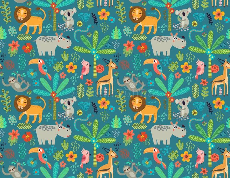 Seamless pattern with jungle animals stock illustration