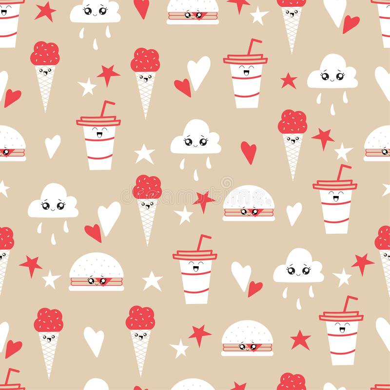 Seamless pattern of kawaii food characters stock illustration