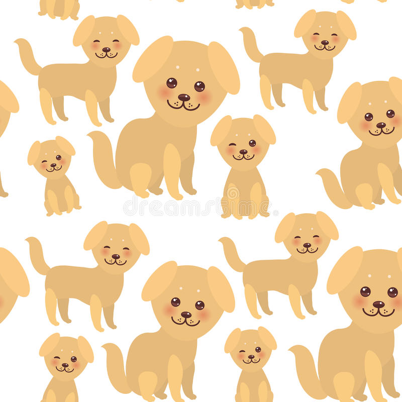 Seamless pattern Kawaii funny golden beige dog, face with large eyes and pink cheeks, boy and girl isolated on white background. Vector illustration royalty free illustration