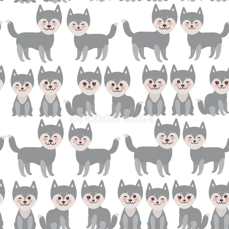 Seamless pattern Kawaii funny gray husky dog, face with large eyes and pink cheeks, boy and girl isolated on white background. Vector illustration stock illustration