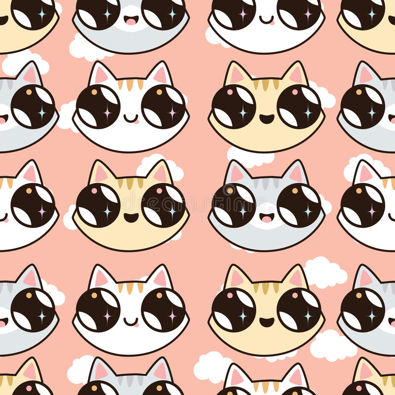 Seamless pattern with Kawaii kittens. Seamless pattern of cute cartoon cats, dif vector illustration