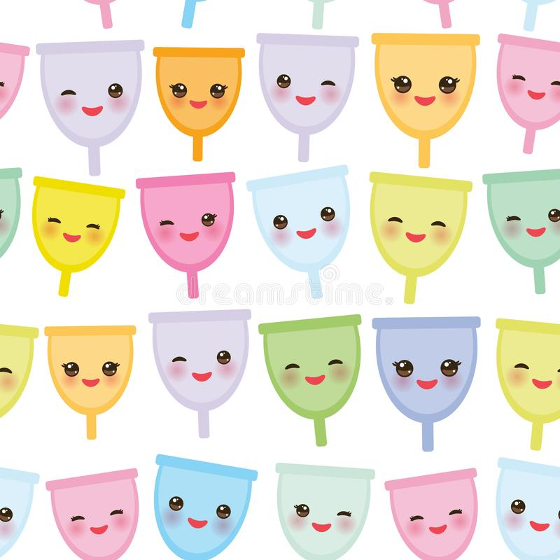 Seamless pattern Kawaii menstrual cup is a feminine hygiene product made of flexible medical grade silicone and shaped like a bell. Pink cheeks and eyes royalty free illustration