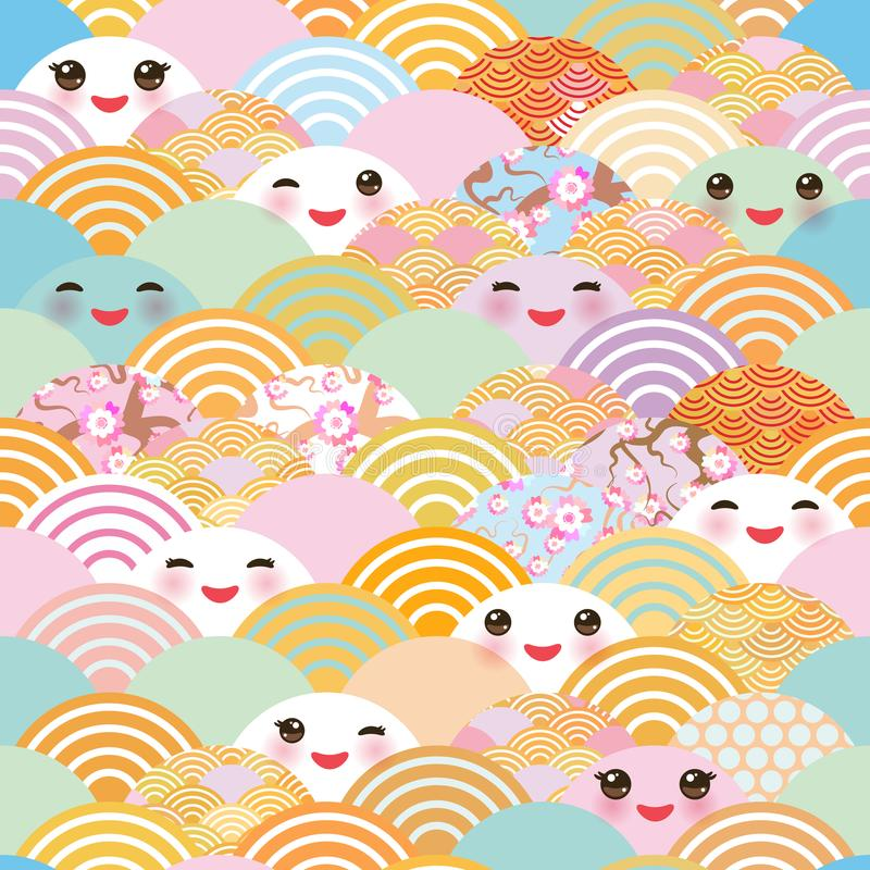 Seamless pattern Kawaii with pink cheeks and winking eyes simple Nature background with japanese sakura flower, rosy pink Cherry, royalty free illustration