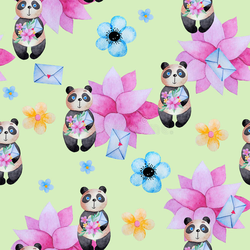 Seamless pattern for kids with pandas. vector illustration
