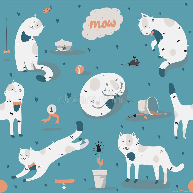 Seamless pattern with kind funky white cats, fun, stylish. Vector illustration with cat accessories - food, toys, broken flower. stock illustration