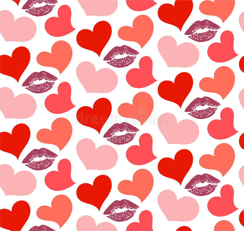 Seamless pattern with kisses and hearts vector illustration