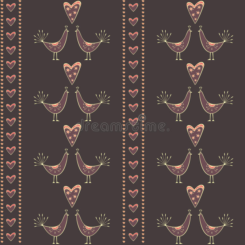 Download Seamless Pattern With Kissing Birds And Hearts Stock Vector - Illustration of decoration, cartoon: 28840018
