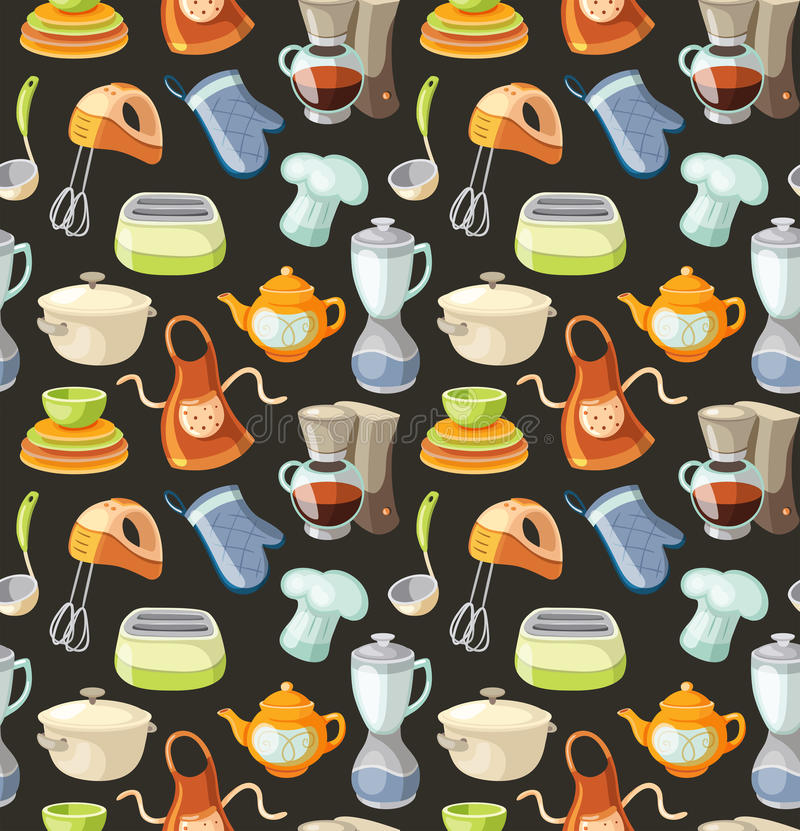 Seamless pattern with kitchen tools and cooking icons. vector illustration