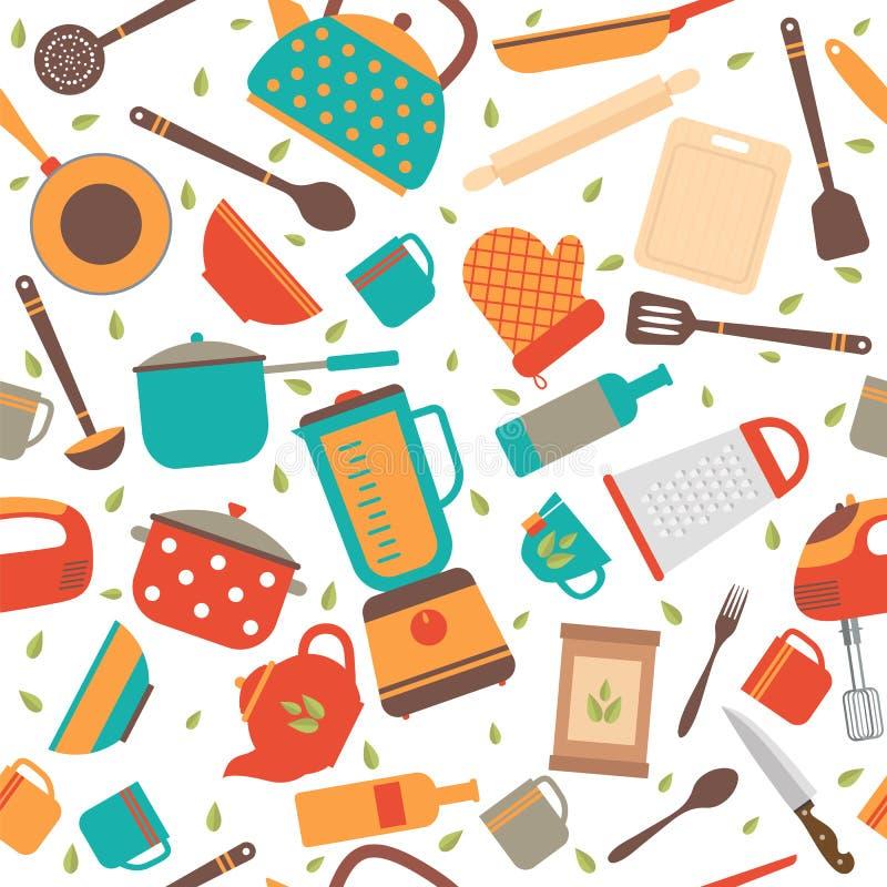 Kitchen Utensils Background: Seamless Pattern With Kitchen Tools. Cooking Utensils