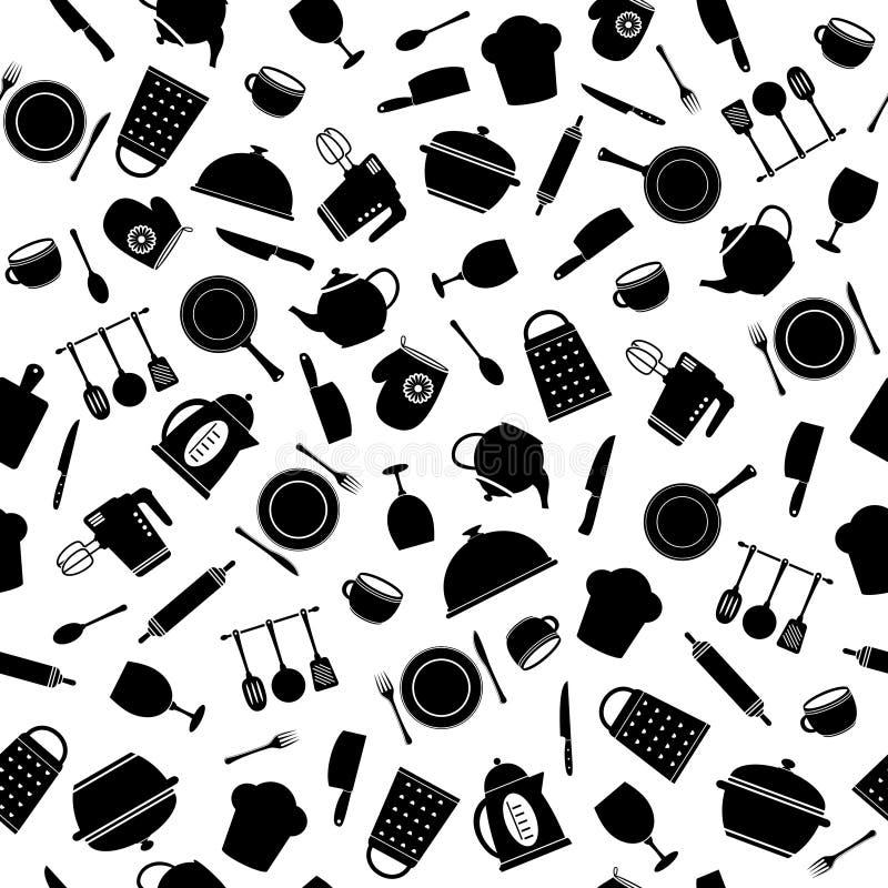Seamless pattern of kitchen tools vector illustration