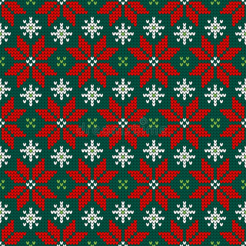 Seamless Pattern Knitted Little Poinsettia Red Green White vector illustration