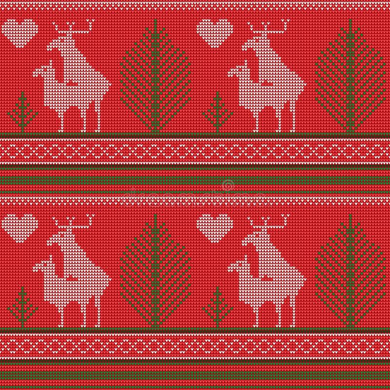 Seamless pattern of a knitted sweater, reindeer love, fir, heart, humor. Printing, textile paper. Vector image stock illustration