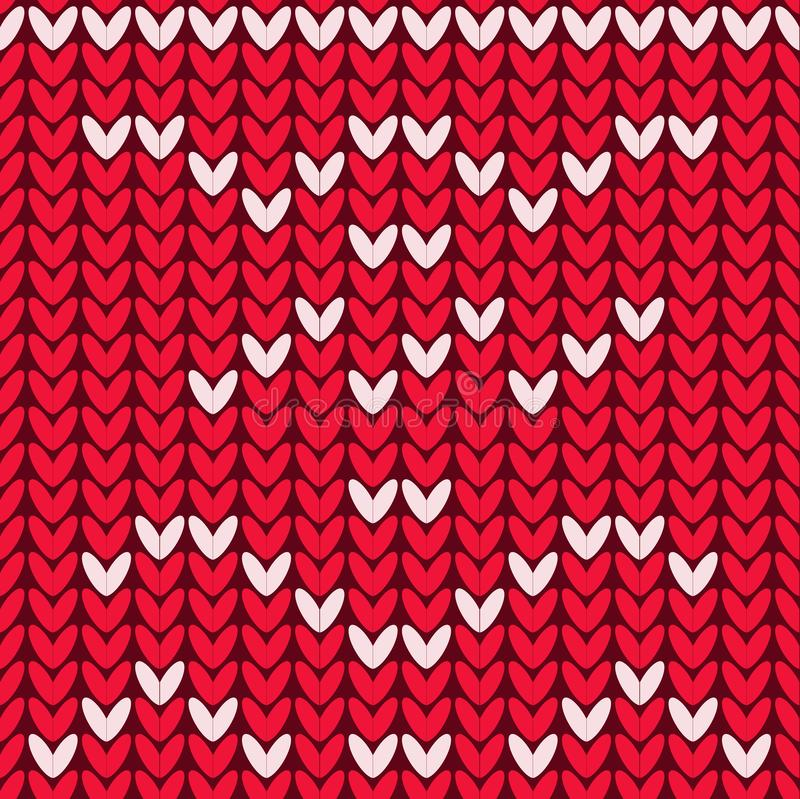 Seamless pattern knitted texture, repeating ornament red and white colors royalty free illustration