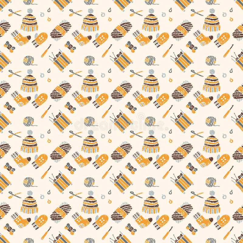 Seamless pattern on a knitting theme, brown things stock illustration