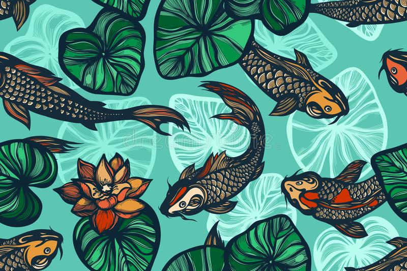 Seamless pattern with koi carp fish, flowers and leaves of the lotus. Pond. Background in the Chinese style. Hand drawn. stock illustration