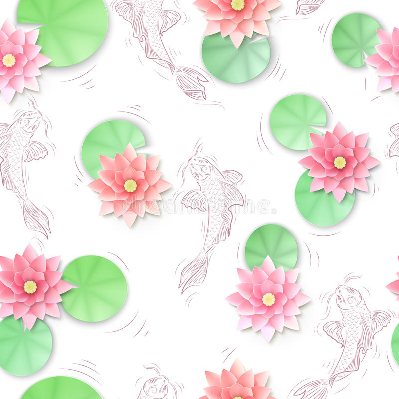 Seamless pattern with Koi carp and lotus paper flowers royalty free illustration