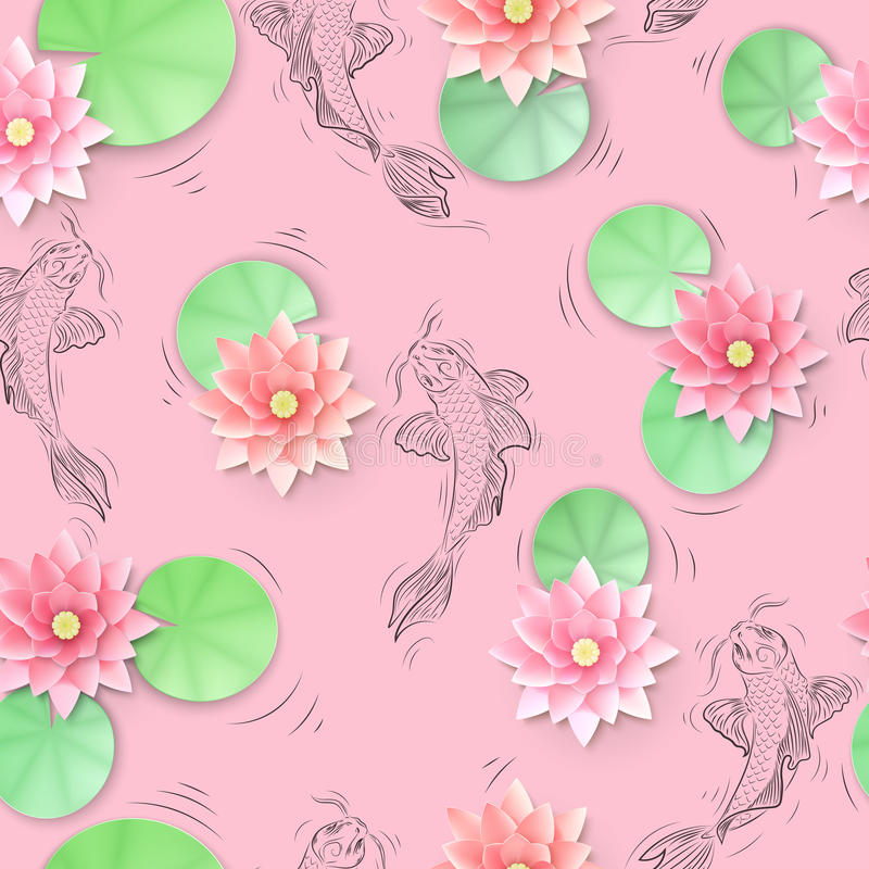 Seamless pattern with Koi carp and lotus paper flowers vector illustration