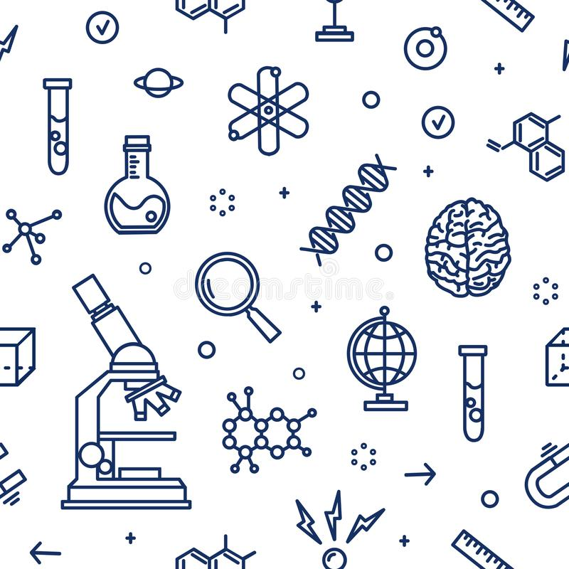 Seamless pattern with laboratory equipment, attributes of science, scientific experiment, research drawn with contour stock illustration