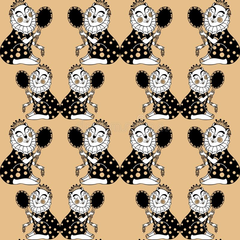Seamless pattern with lady cat princess looks in the mirror. Vector. vector illustration