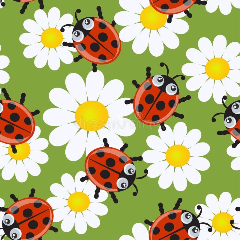 Seamless pattern with ladybirds stock illustration