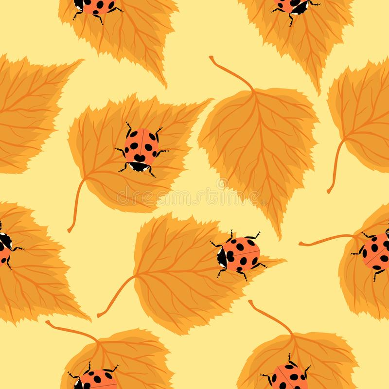 Seamless pattern with ladybugs and birch leaves. Vector graphics royalty free illustration