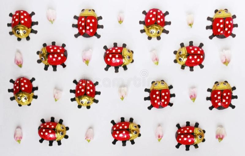 Seamless pattern with ladybugs and pink flower buds royalty free stock photo