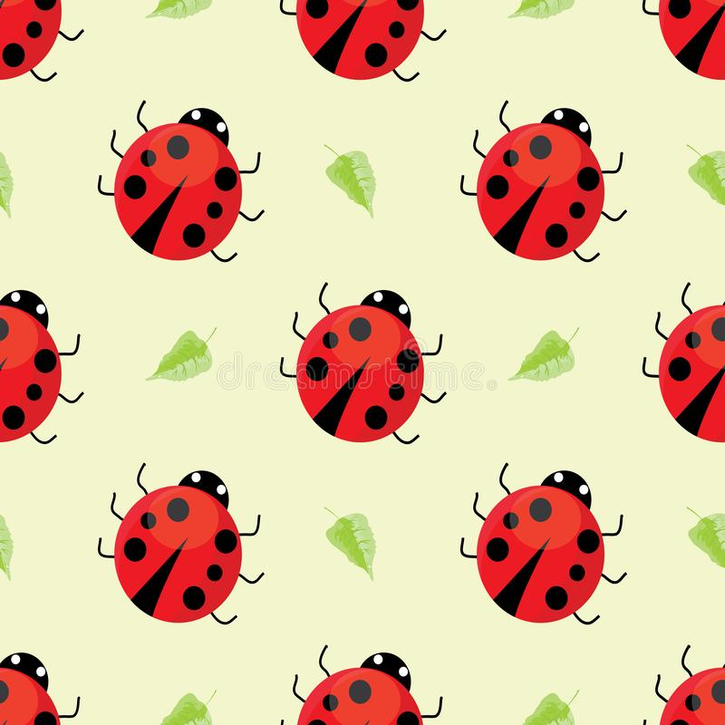 Seamless pattern with ladybugs vector illustration