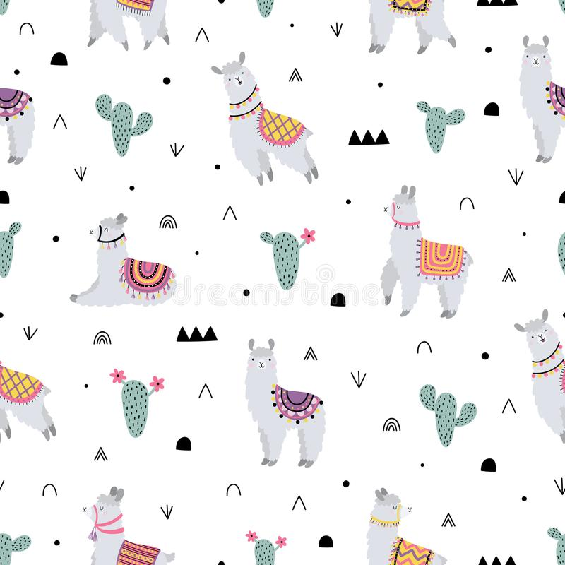 Seamless pattern with lama, cactus and decorative elements stock photography