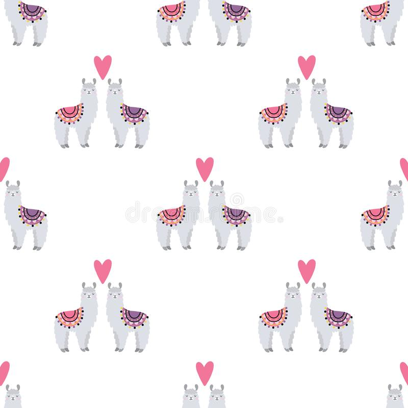 Seamless pattern with lamas in love royalty free stock photography