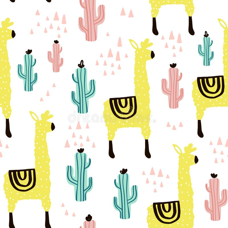 Seamless pattern with lamma, cactus and hand drawn elements. Childish texture. Great for fabric, textile Vector Illustration stock illustration