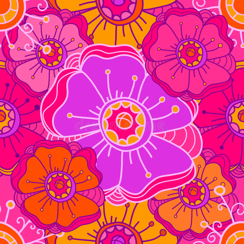 Seamless pattern with large colorful flowers. Pink and orange tones. Hand Draw vector illustration