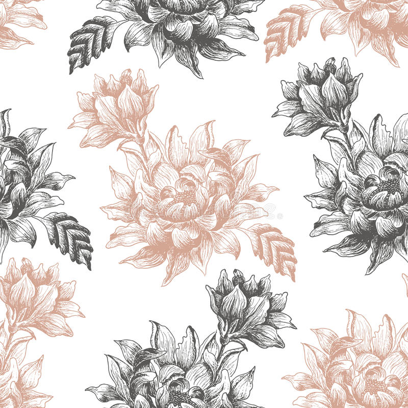 Seamless pattern with large flowers on a white background. Vector illustration for your design stock illustration