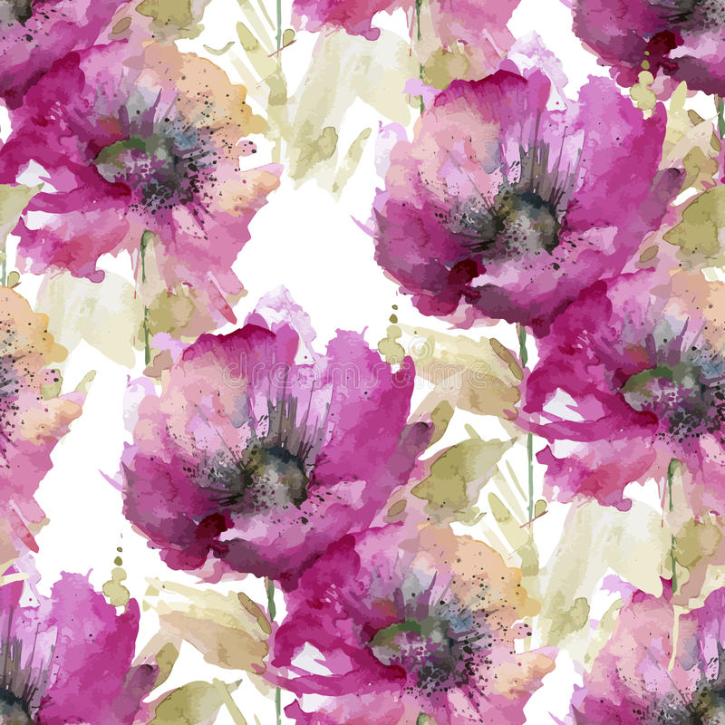 Seamless pattern of large pink flowers. Seamless watercolor background of the big pink flowers stock illustration