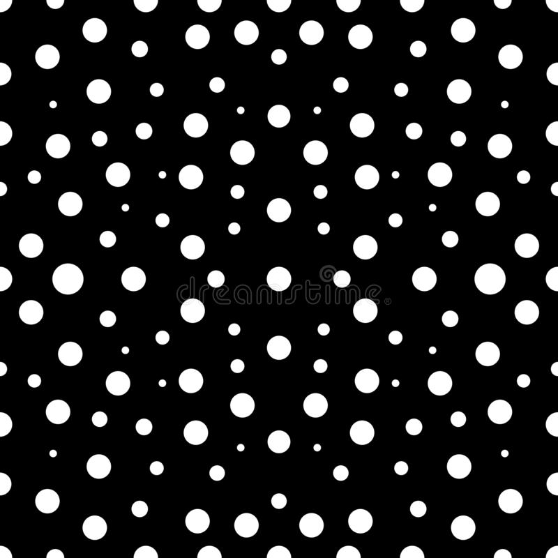 Seamless polka dot black and white pattern in defferent size vector illustration