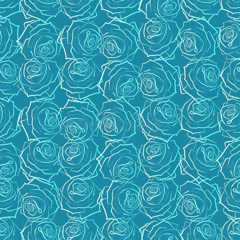 Seamless pattern of large white and blue roses, on a blue-green background royalty free illustration
