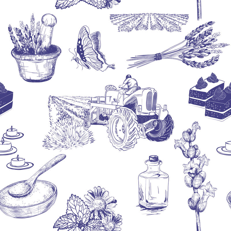 Seamless pattern with lavender flowers set royalty free illustration