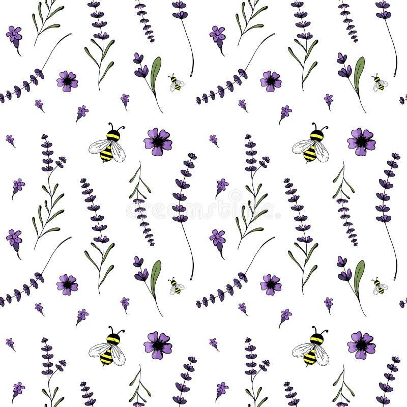Seamless pattern, lavender theme stock illustration