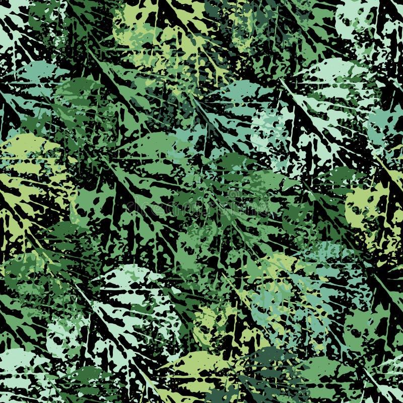 Seamless pattern of leaf prints stock illustration