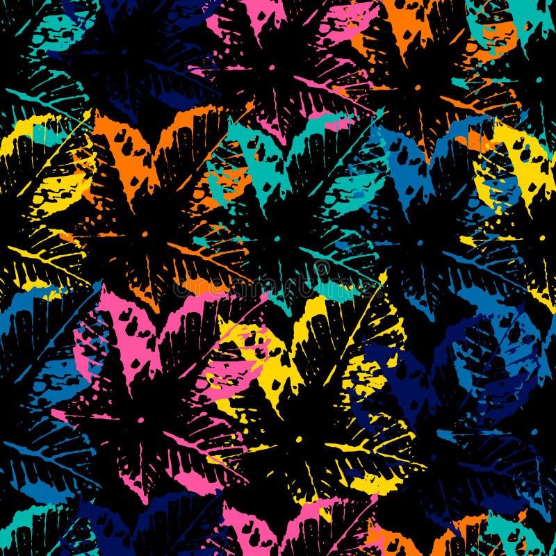 Seamless pattern of leaf prints royalty free illustration