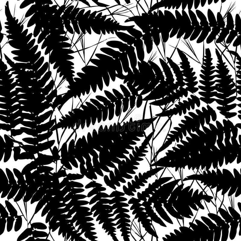Seamless pattern with leafs tropical fern palm for fashion textile or web background. Black silhouette on white background. Vector vector illustration