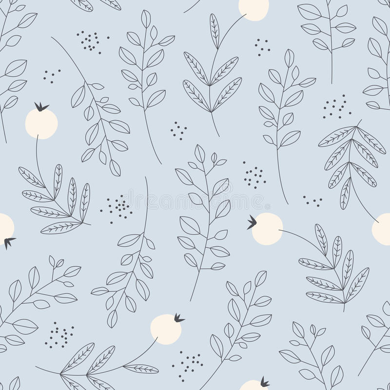 Seamless pattern with leaves and berries. Vector illustration stock illustration