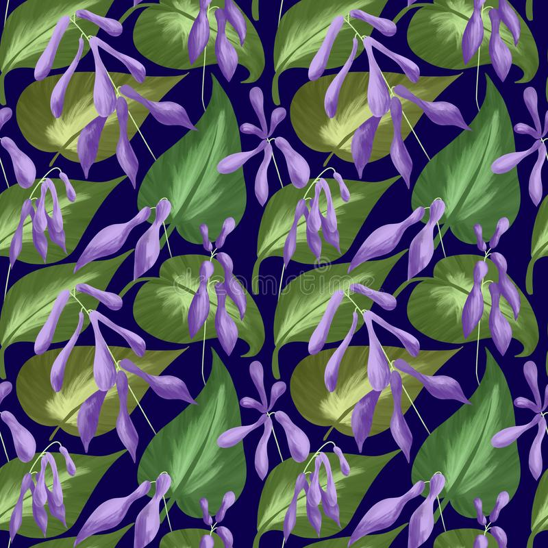 Seamless pattern of leaves and flowers of hostas on a dark blue background. Digital illustration. stock illustration