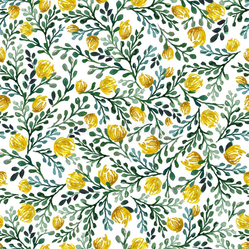 Seamless pattern with leaves, flowers , herbs, tropical plant hand drawn watercolor. Fresh beauty rustic eco friendly background. stock illustration