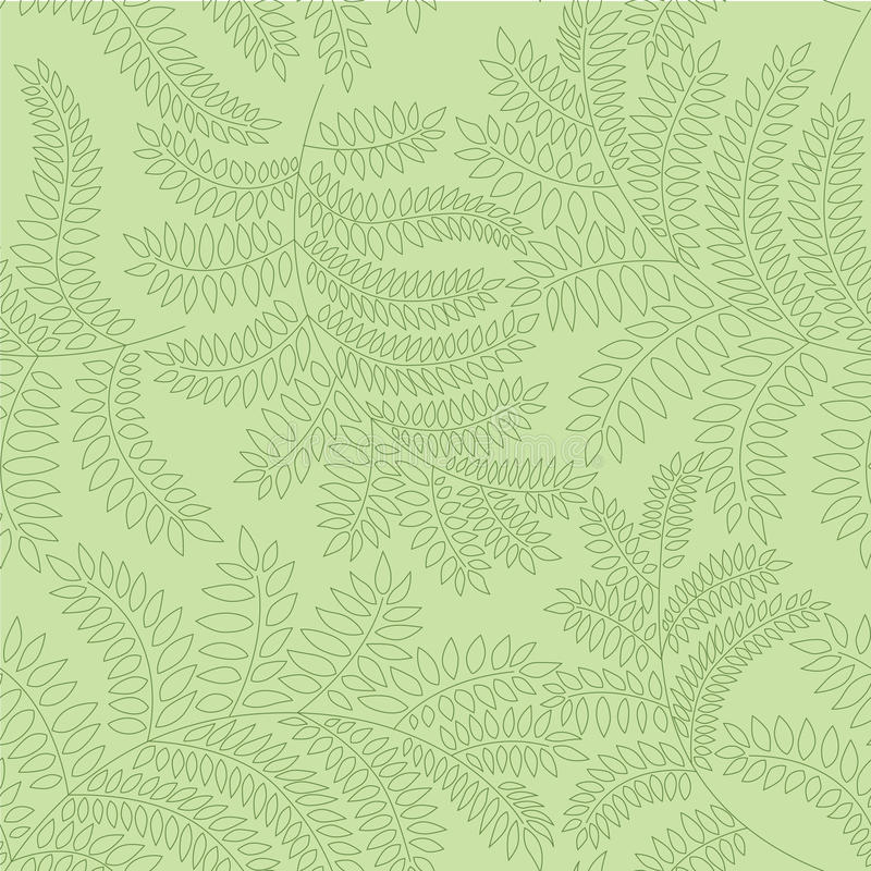 Seamless pattern with leaves on green background stock illustration