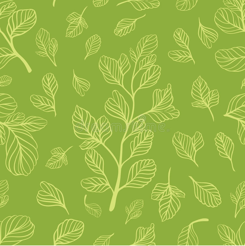 Seamless pattern with leaves on the light green color stock image