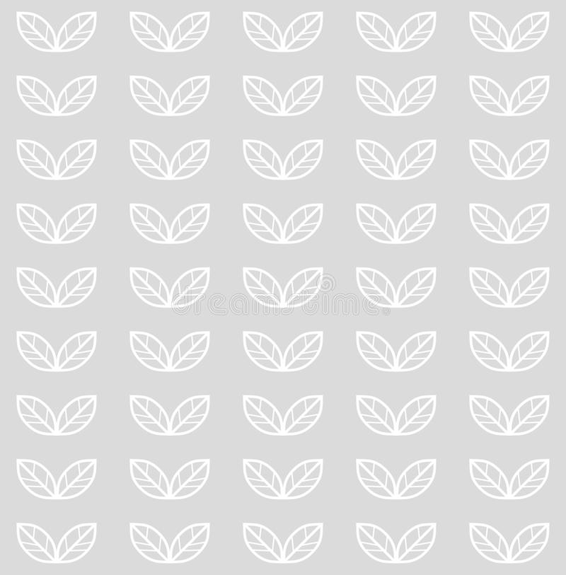 Seamless pattern with leaves. Vector monochrome scandinavian floral background with white leaves in a row stock illustration