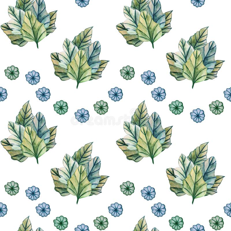Seamless pattern with leaves on white background stock illustration